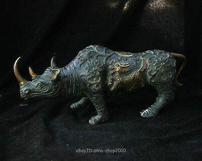 23cm Collect China Brass Copper Bronze Handmade animal ox cow beast Statue AXBM