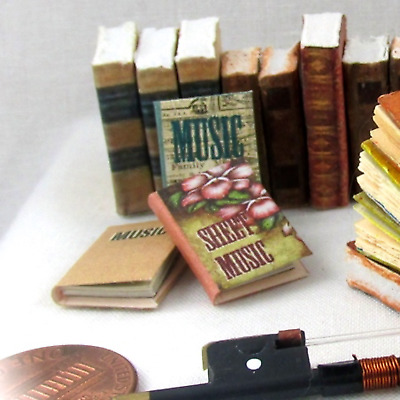 MUSIC LESSONS Book Set (3) Dollhouse Miniature Books 1:12 Scale Sheet Music
