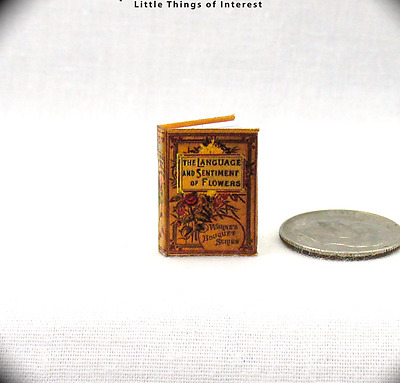 THE LANGUAGE OF FLOWERS Miniature Book 1:12 Scale Readable Illustrated Book