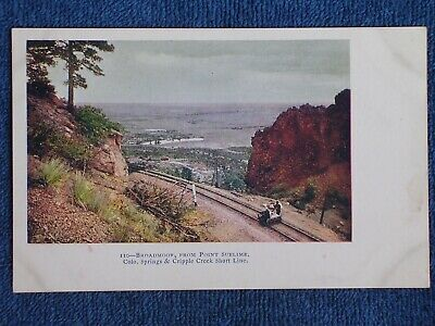 Colorado Springs/Broadmoor from Point Sublime/2 Men on Railroad Handcar/Photo PC