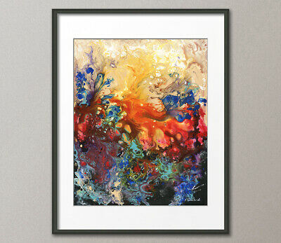 Giclee Fine Art Prints Abstract Contemporary Red Fluid Original Painting Modern