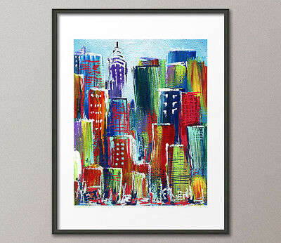 Lg. Canvas and Fine Art Prints Contemporary Painting Modern Cityscape Abstract
