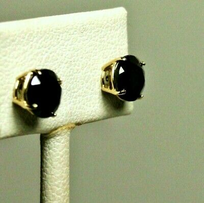 14k solid yellow gold 8mm faceted natural Black Onyx stud screw back earrings