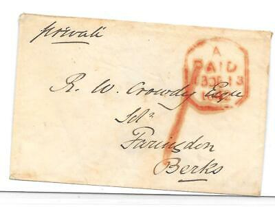 London 1842 Cover Paid Tombstone Date Stamp San-Serif Letters Code A