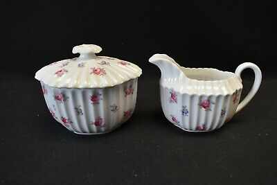 Spode England Bone China Dimity Y5764 Mini Creamer & Sugar Bowl with Lid