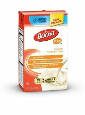 2 CASES! 54 CARTONS! Boost PLUS Very Vanilla 8oz Nestle Nutrition Supplement