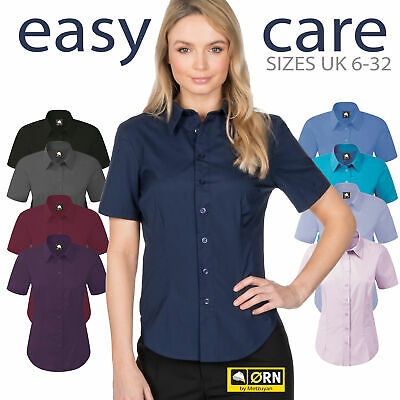 Ladies Womens Essential Short Sleeve Button Up Work Shirt Office Blouse Formal