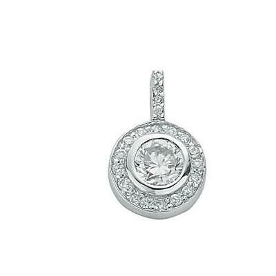 Rhodium Plated 925 Hallmarked Silver Rubover Set Brilliant Halo Pendant
