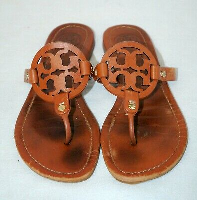 4aa037476215 Tory Burch Miller Thong Sandals Flats Vintage Vachetta Leather Size 8