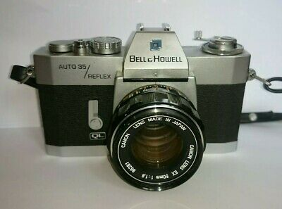 Bell & Howell ql 35mm slr Camera with Canon lens ex 50mm 1:1.8 & case