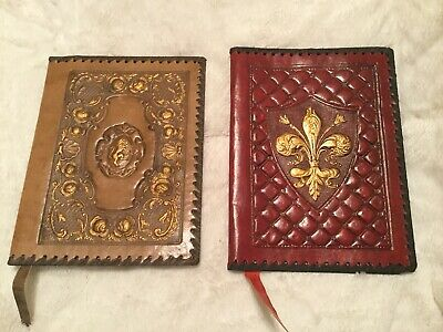 Lot Of 2 Vintage Never Used  Genuine Leather Hand Tooled Book Covers From Italy