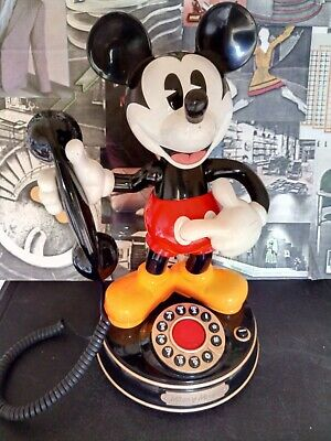 Disney Mickey Mouse Animated talking Push Button Telephone (1928 - 2007) *Rare*