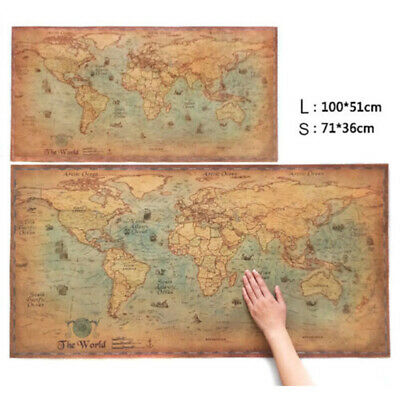 WORLD MAP VINTAGE ANTIQUE STYLE LARGE POSTER (100x50cm) WALL CHART PICTURE CHL