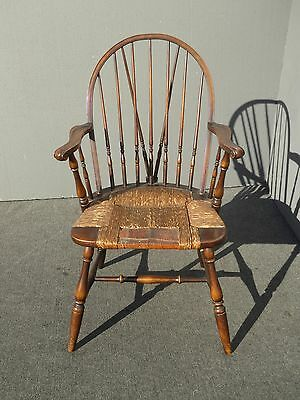 Vintage B&S Co. Solid Wood Rush Seat Rustic Windsor Arm Chair French Country
