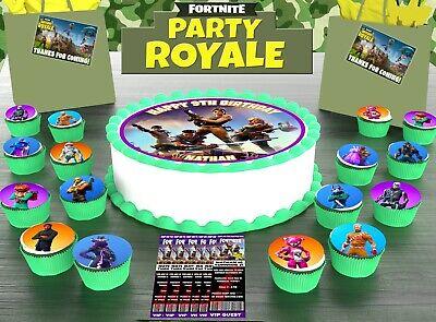 FORTNITE PARTY PACK ICING round 1 CAKE TOPPER 24 CUPCAKE 12 INVITES 12 THANKS