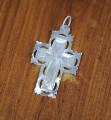 Antique  Mother of Pearl Handmade  Christian Orthodox Cross Necklace Pendant