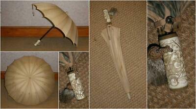 Vintage Chinese Theme Cream Canopy Umbrella With A Superb Carved Handle