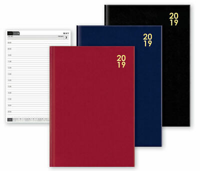 2019 A6 Day to Page Diary Hard Back Calendar Reminder Black Red Blue Organiser