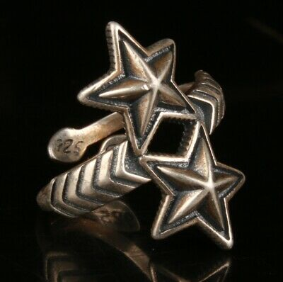 Chinese Silver Handmade Carving Pentagram Ring Gift Collection