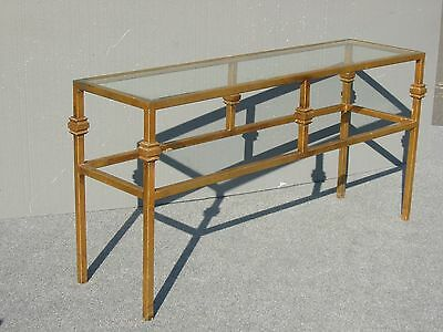 Vintage Gold Gilt Metal Glass Top Console Sofa Table