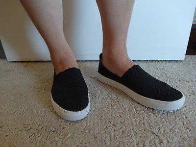 New Fashion Casual Elastic Fabric Woven Stretch Slip-On Sneakers Black Sizes 8
