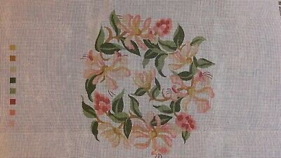 Ehrman 1989 Honeysuckle Tapestry Kit, canvas plus wool, blue background, square