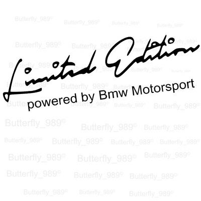 BMW Limited Edition Powered By Motorsport Aufkleber BMW Sticker Limited Edition.