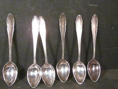 Silverplate Vintage WMF90 German Set 6 COFFEE OR DEMITASSE SPOONS No Mono