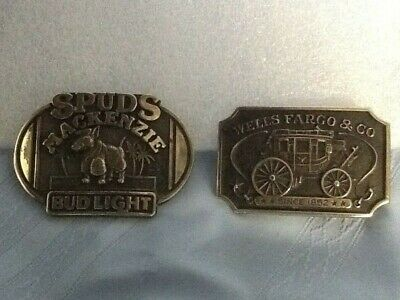 Two Vintage Brass Belt Buckles Bud Light: Spuds MacKenzie & Wells Fargo & Co.