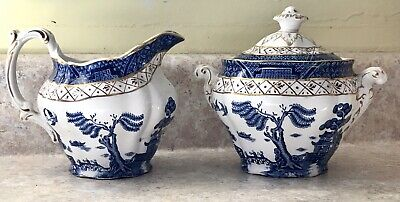 Vintage Booths England Real Old Willow Sugar & Creamer Blue Willow Gold Gild
