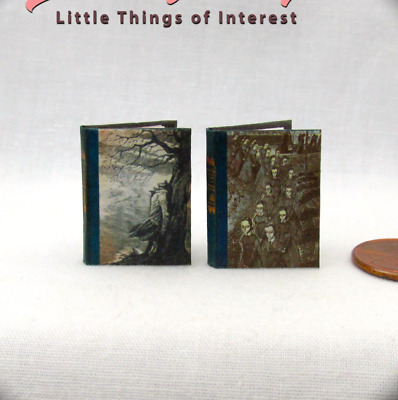 BRONTE SISTERS SET 2 Miniature Book Dollhouse 1:12 Scale Readable WUTHERING JANE