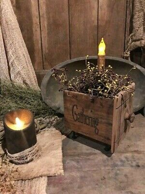 Primitive Country Old Wooden Drawer Box Gathering Candle Centerpiece