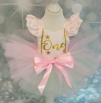 Baby Girl First 1st Birthday Outfit Cake Smash Tutu Photo Shoot Tiara Headband