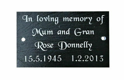 Personalised Custom Engraved Natural Slate Bench Memorial Plaque Plate Sign