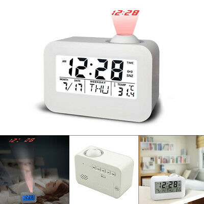 Digital LCD Voice Talking Projection Alarm Clock Time Temperature Projector Set