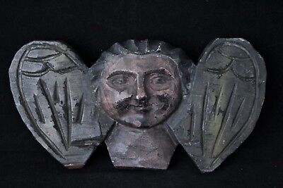 Antique Primitive Wood Folk Art Carving Of Winged Face Or Angel/Cherub