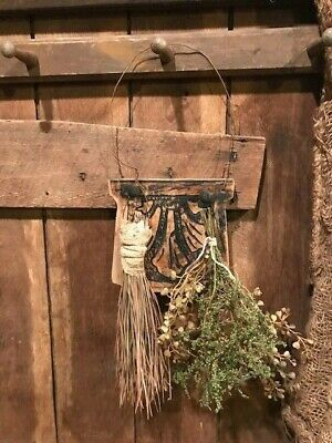 Primitive Old Wood Peg Hanger Make Do Drying Rack Early Look Farmhouse