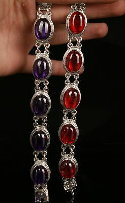 2 Chinese Silver Jade Hand Carving Bracelet Jewelry Gift Collection