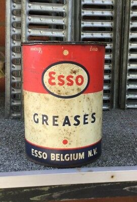 Ancienne Boite Esso Graisse  Old Box Greases No Shell / Bp / Fina / Total