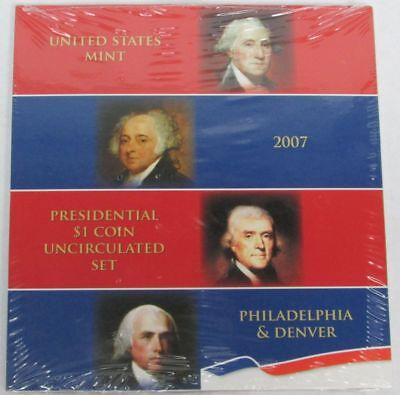 2007 Presidential $1 Dollar 8 Coin Uncirculated Set P & D Sealed Us Mint