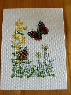 Wild Flowers & Butterflies Completed Cross Stitch Picture