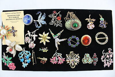 25 x Vintage & Retro ENAMEL BROOCHES inc. 1980s, Abstract, Floral, Statement