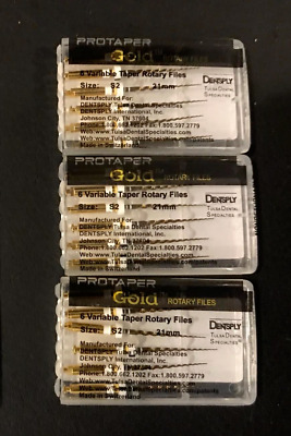 3 x Dentsply ProTaper Gold Files Assorted S2 25mm