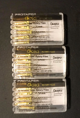 3 x Dentsply ProTaper Gold Files Assorted F1 21mm