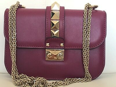 2cdca4f29a Authentic Valentino Rockstud Glam Lock Small Camelia 0By Colour Chained Bag