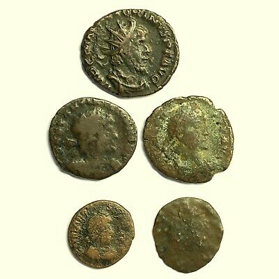 5 Ancient Roman Imperial Bronze Coins, Used Daily in Ancient Times
