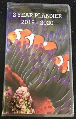 NEW 2 Year Planner 2019 - 2020 Clown Fish Monthly Pocket Calendar Ocean Two