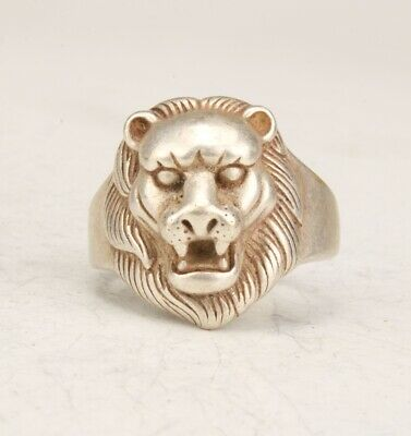 Exquisite Chinese Tibetan Silver Handcarved Lion Ring Gift Jewelry