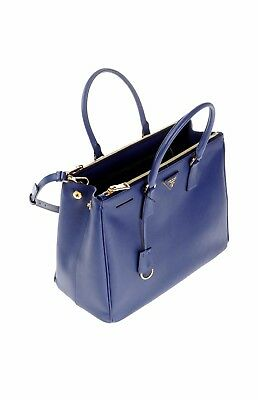 d16e9f412b21 Authentic Prada Saffiano Lux Galleria Double Zip Blue (Bluette) Tote Bag