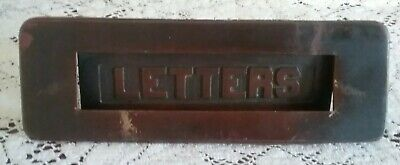 Antique Brass Victorian Fancy Letter Slot Hardware Door Mail Dark Patina